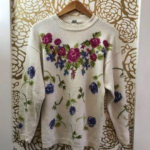 Vintage Talbots Floral Heavy Knit Cream Sweater